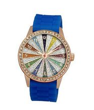 TRENDY FASHION Blue Silicon Strap , Rose Gold Case, Rainbow Glitter Dial BY FASHION DESTINATION