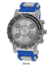 TRENDY FASHION Blue/Silver Bullet Band Silicon Strap , Hip-Hop Silver Case, Silver Dial BY FASHION DESTINATION