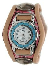 Kc,s Leather Craft Bracelet Three Concho Turquoise Movement Inlay Color Pink