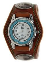 Kc,s Leather Craft Bracelet Turquoise Movemnet 3 Concho Double Stitch Color Light Brown