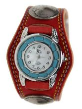 Kc,s Leather Craft Bracelet Turquoise Movemnet 3 Concho Double Stitch Color Red