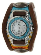 Kc,s Leather Craft Bracelet Turquoise Movemnet 3 Concho Inlay Multi Sarape Color Dark Brown