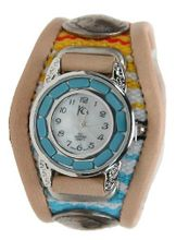 Kc,s Leather Craft Bracelet Turquoise Movemnet 3 Concho Inlay Multi Sarape Color Tan