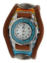 uKC,s Leather Craft Kc,s Leather Craft Bracelet Turquoise Movemnet 3 Concho Inlay Multi Sarape Color Light Brown