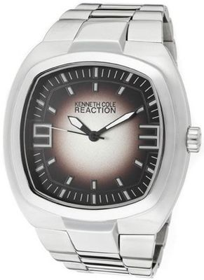Rectangle Hand Color: Black and White, Case Color: Siver, Dial Color: Dark Brown