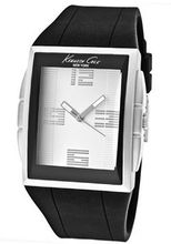 KENNETH COLE KC1559 WATCH WHITE FACE/BLACK RUBBER