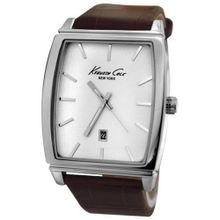 Kenneth Cole KCW1026 White Analog Date Dial Brown Leather Strap  NEW