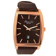 Kenneth Cole KCW1028 Rose Gold Brown Analog Date Dial Leather Band  NEW