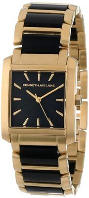 Kenneth Jay Lane KJLANE-1606 900 Series Black Textured Dial Gold Ion-Plated Stainless Steel and Black Resin