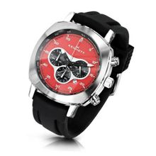 KENNETT Quartz with Red Dial Chronograph Display and Black Plastic or PU Strap 2001.4301