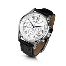 KENNETT Quartz with White Dial Chronograph Display and Black Leather Strap 3001.4101