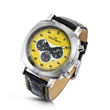 KENNETT Quartz with Yellow Dial Chronograph Display and Black Leather Strap 2001.4103