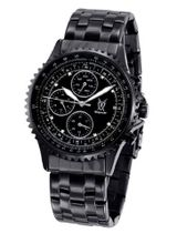 Black Bracelet Large Dial Diamond Accent Multifunction Day Date Konigswerk SQ201415G