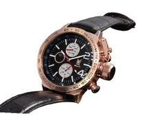 Black Dress Leather Strap Rose Gold Case Multifunction Day Date Moon Phase Konigswerk AQ201768G