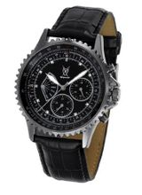 Black Leather Band Diamond Accent Multifunction Day Date Konigswerk SQ201457G