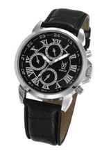 Black Leather Classic Roman Numerals Multifunction Day Date Sun Moon Display Konigswerk AQ202575G