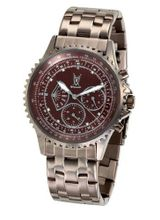 Brown Stainless Steel Band Large Dial Diamond Accent Multifunction Day Date Konigswerk SQ201464G