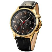 KS Automatic Mechanical 6 Hands Golden Case Date Day Leather Band  KS054