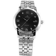KS Automatic Mechanical Date Stainless Steel Analog Black Dress +Gift Box KS090