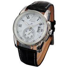 KS Automatic Mechanical Date White Dial Date Leather Band Wrist KS067