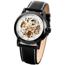 KS  Black Leather Band Automatic Mechanical Skeleton Waterproof Sport KS035