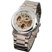 KS  Luxury Automatic Mechanical Skeleton Dial Steel Band Analog Sport KS038