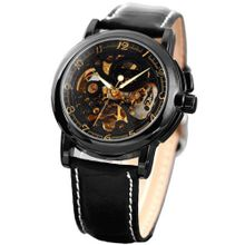 KS  Luxury Skeleton Automatic Mechanical Black Leather Analog Sport KS036