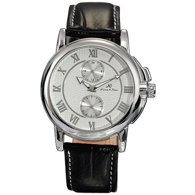 KS Luxyry Classical Mechanical Leather Band Army Wrist White Dial KS043