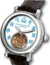 Happy Buddha Tourbillon with Blue Characters on White Enamel-Style Dial Limited Edition