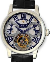 KULTUhR Automatic Self Winding Tourbillon with Anthracite and Bluish Hand-Skeletonized Dial Limited Edition
