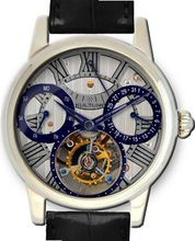 KULTUhR Automatic Self Winding Tourbillon with Bluish and Anthracite Hand-Skeletonized Dial Limited Edition