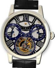 KULTUhR Automatic Self Winding Tourbillon with Bluish and Black Hand-Skeletonized Dial Limited Edition