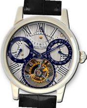 KULTUhR Automatic Self Winding Tourbillon with Bluish and Silver Hand-Skeletonized Dial Limited Edition