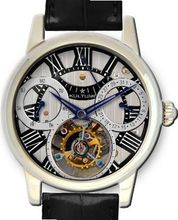 KULTUhR Automatic Self Winding Tourbillon with Silver and Black Hand-Skeletonized Dial Limited Edition