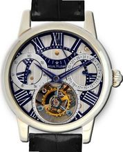 KULTUhR Automatic Self Winding Tourbillon with Silver and Bluish Hand-Skeletonized Dial Limited Edition