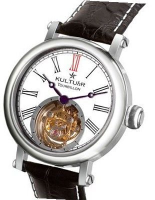 KULTUhR Fab Classic Tourbillon with Black Roman Numerals on White Dial Limited Edition - Lady Size
