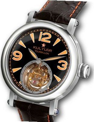 KULTUhR Zoom Pilot Tourbillon with Orange Arabic Numbers on Astro Black Dial Limited Edition