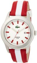 Lacoste 2010502 Advantage Red and White Grosgrain Strap White Dial
