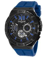 Acquascope Chronograph Black Textured Dial Blue Silicone