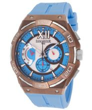 Acquascope Chronograph Silver Tone Textured Dial Light Blue Silicone