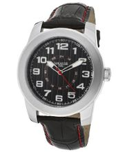 Black Textured Dial Black Genuine Leather