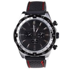 Laogeshi Classic Six Hands Calendar Date Day Rubber Band  Mechanical Wrist Black