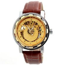 Laogeshi Fashion Classic Skeleton Leather Band  Mechanical Wrist Brown
