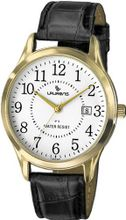 Laurens CA02L901Y Leather Analog Gold-Tone Metal Black Leather Date