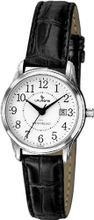 Laurens CA03L900Y Leather Analog White Dial Metal Black Leather Date