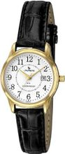 Laurens CA03L901Y Leather Analog Gold-Tone Metal Black Leather Date