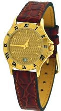Le Chateau #2155L_GLD Brown Leather Band Gold Dial Slim Casual Dress