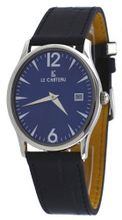 Le Chateau #2672M_BL Oval Blue Dial Leather Band Ultra Slim Dress