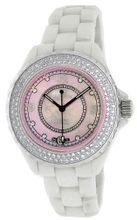 Le Chateau #5802_PINK Crystal Accented Mid Size White Ceramic Pink MOP Dial