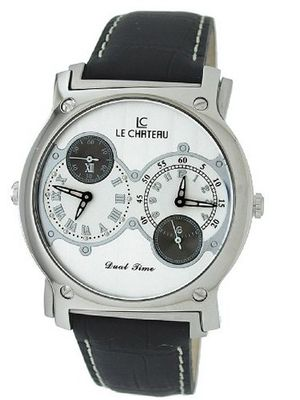 Le Chateau SS335_SIL Viajero Collection Dual-Time Zone